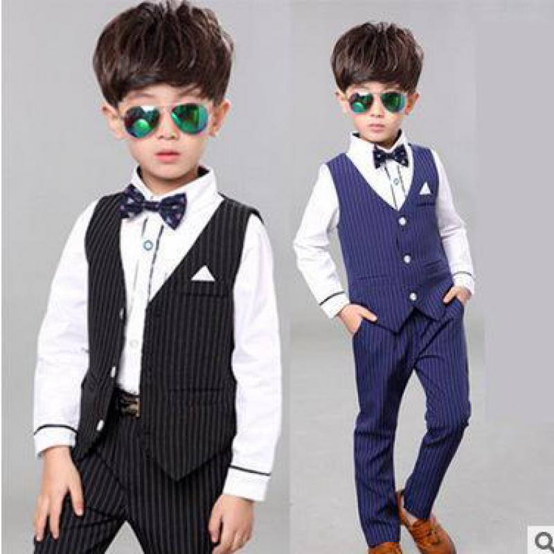 Autumn New Arrival Boys Clothes 3 Pcs Long Sleeve Shirts + Vest + Pants Handsome Gentleman Suits Hot Sales Boys Clothing Sets 14