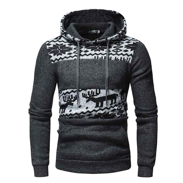 d24009505031 Winter Knitting Hoodies Xmas Christmas Deer Pattern Hooded Pullover Warm  Thick 2018 Men Sweatshirt M-5XL