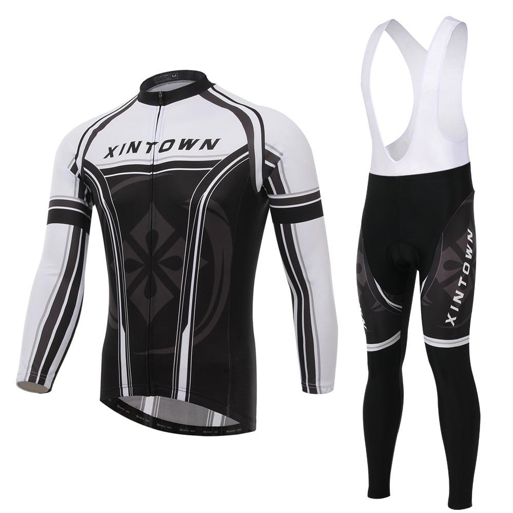 XINTOWN star black bike riding jersey strap long sleeve suit wear bicycle suits fleece wind warm functional underwear