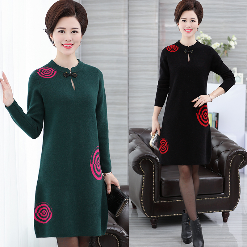 Spring and winter new lady wool sweater long sleeve sweater in the elderly mother loaded