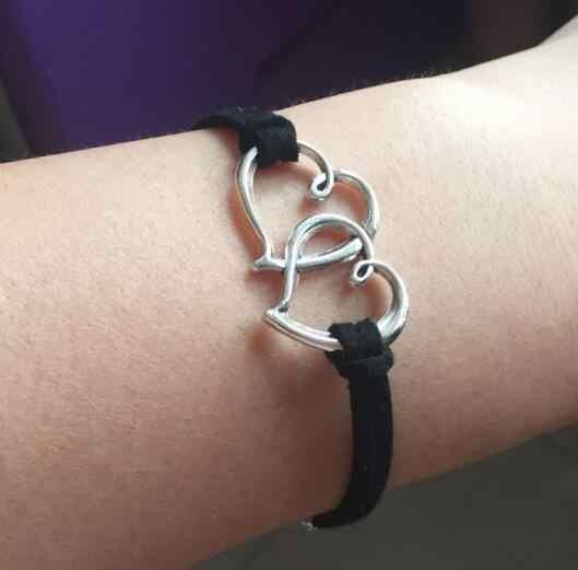1 ppiezas pulseras con forma de corazón de cuero ancla cadena negra triángulos geométricos Cruz joyería para hombres y mujeres pulseras