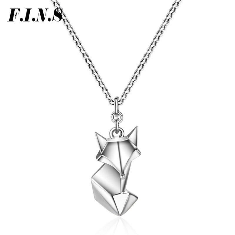 F.I.N.S Mignon Renard Pendentif Délicat Colliers et Pendentifs Animaux Collier Femmes S925 Sterling Silver Belle Chaîne En Argent Bijoux