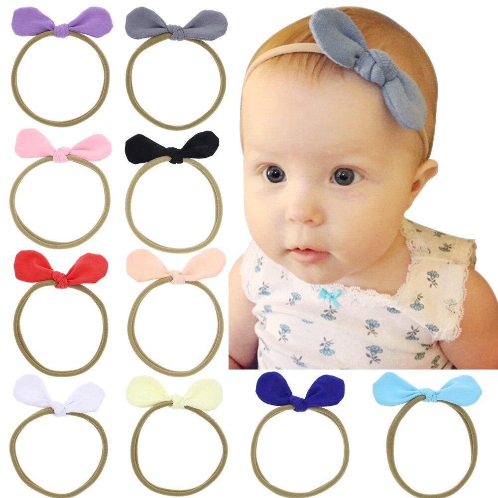 1 Stück Maya Stepan Kinder Mädchen Fashion Solid Haar Kopf Band Kaninchen Ohren Baby Neugeborenen Haar Seil Stirnband Headwear Headwrap Clear-Cut-Textur