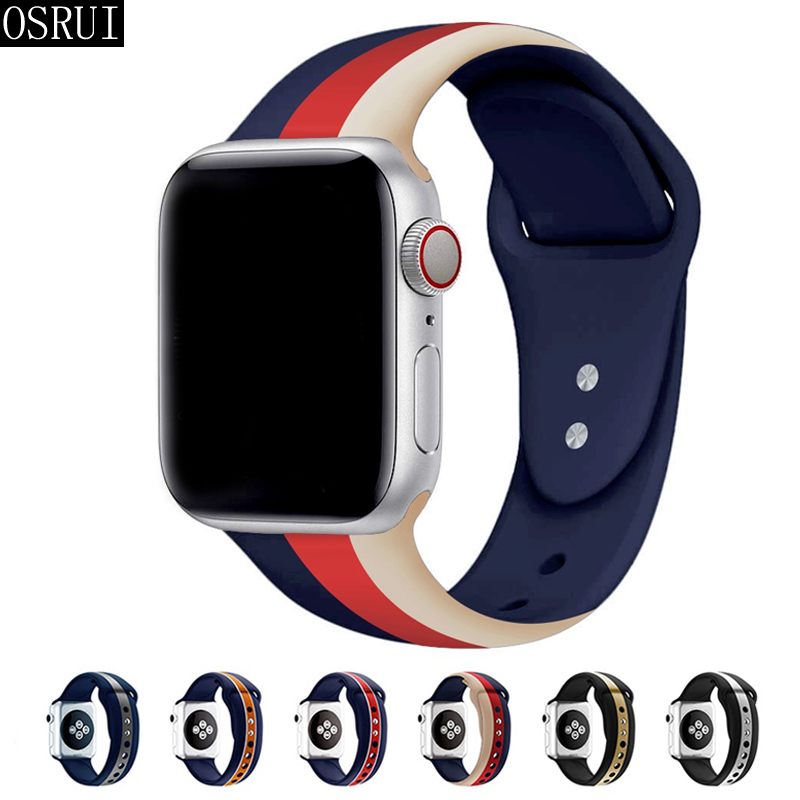 Strap for Apple Watch Band 42mm 38mm correa iwatch 44mm 40mm 4 3 2 sport silicone bracelet pulseira apple watch 4 accessories