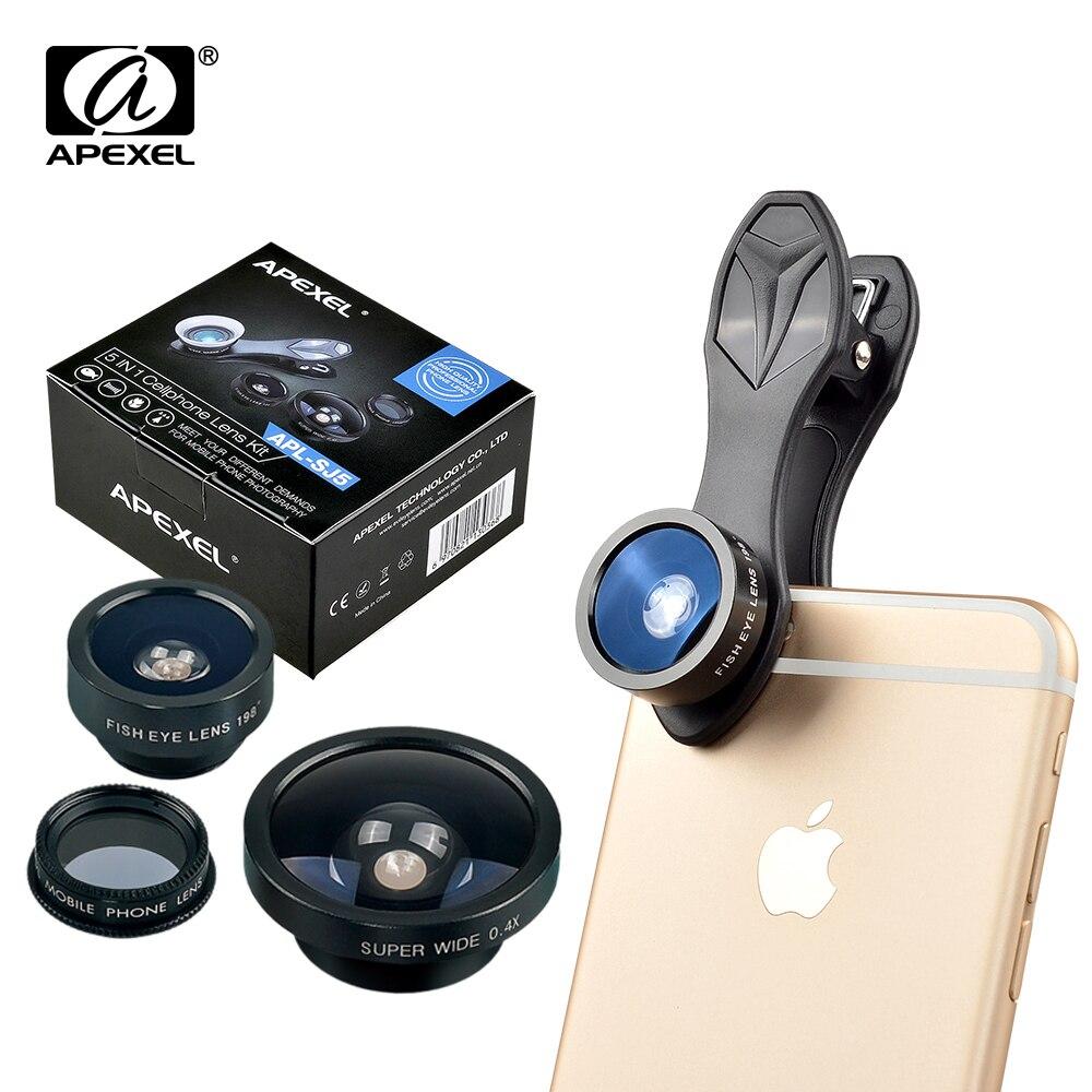 bilder für APEXEL 5 in 1 Kamera handy Objektiv Kit für iPhone 5 s 6 s 7 Samsung Xiaomi redmi Fisheye Makro Weitwinkel KPL fiter lente SJ5