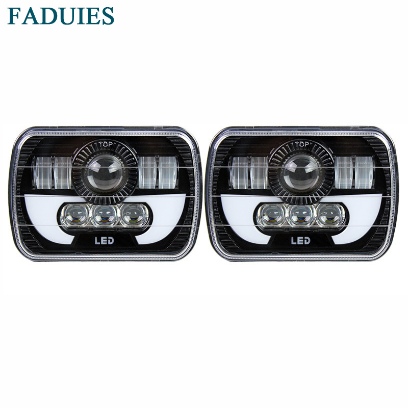 FADUIES 5x7 Inch 6x7inch Led Truck Headlight Square Led headlight H4 High Low Beam with DRL For Jeep Cherokee XJ faduies 7 inch round high low beam with