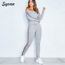 Sexy Matching TWO PIECE SET Stripe Casual Tracksuit Sweatsuit Off Shoulder 2 PIECE Track Suit Two-Piece Outfits Women Clothing(China)
