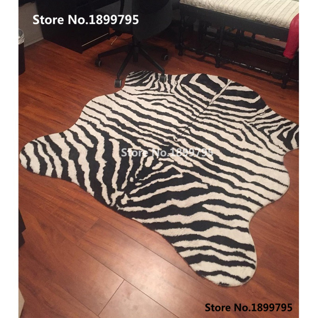 Animal Rug Zebra Carpet Cow Print Rug Faux Skin Cowhide Tricolor Tiger  Leopard Blanket Classic Black