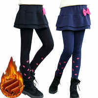 Pantalons Leggings d'hiver pour filles pantalons pour enfants Legging polaire pour filles épais chaud faux deux pièces Culotte pantalons plinthes pour enfants
