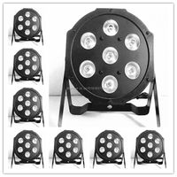 8pcs Lot LED Luxury DMX 4 8 Channels Led Flat Par Light 7x12W RGBW 4IN1 High