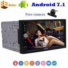 "Eincar 7"" Car Stereo Android 7.1 gps tracker 2Din in Dash Quad-core GPS Navigation Autoradio Support Wifi Bluetooth RDS+camera"
