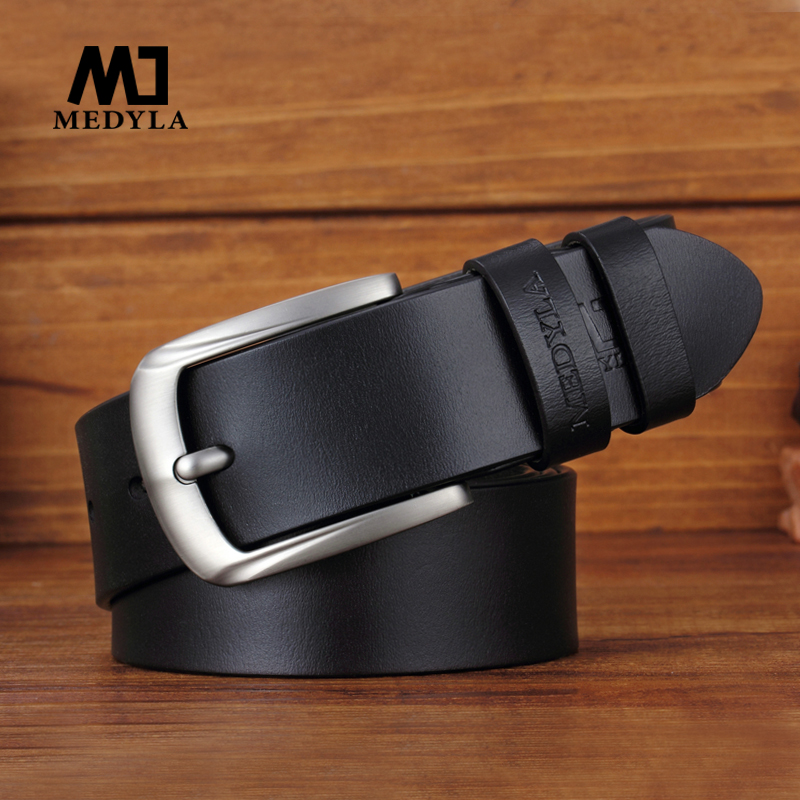 MEDYLA Cow Genuine Leather Luxury Strap Male Belts For Men New Fashion Classice Vintage Pin Buckle Men Belt Dropshipping