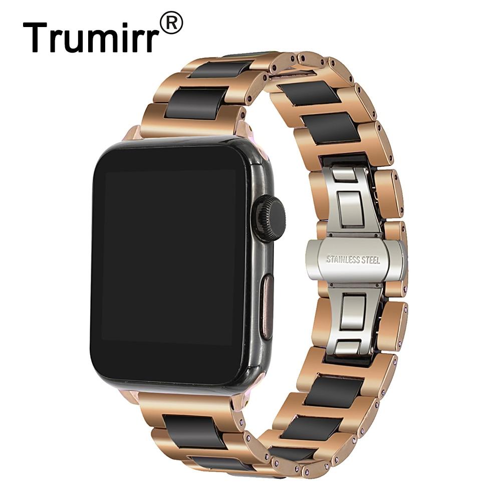 Trumirr Ceramic + Stainless Steel Watchband for iWatch Apple Watch 38mm 40mm 42mm 44mm Series 1 2 3 4 Band Wrist Strap Bracelet