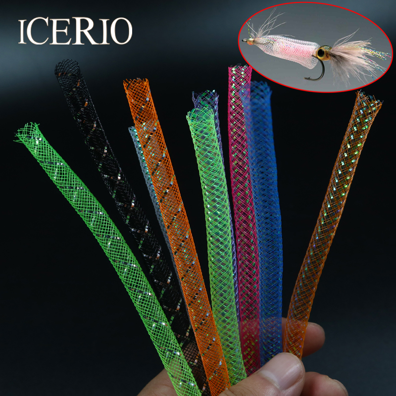 ICERIO 2M/Pack 8mm Multicolor Holographic Tinsel Mylar Mesh Tube Braid Tube Fly Tying Minnow Body Flash Material large watermelon style plush toy pillow doll home cushion birthday day gift