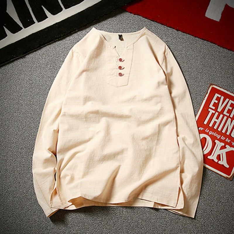 Top lin hommes grand col en v t shirt style chinois gros gars grande taille décontracté à manches longues grand T-shirt 9XL 10xl poitrine 162 cm