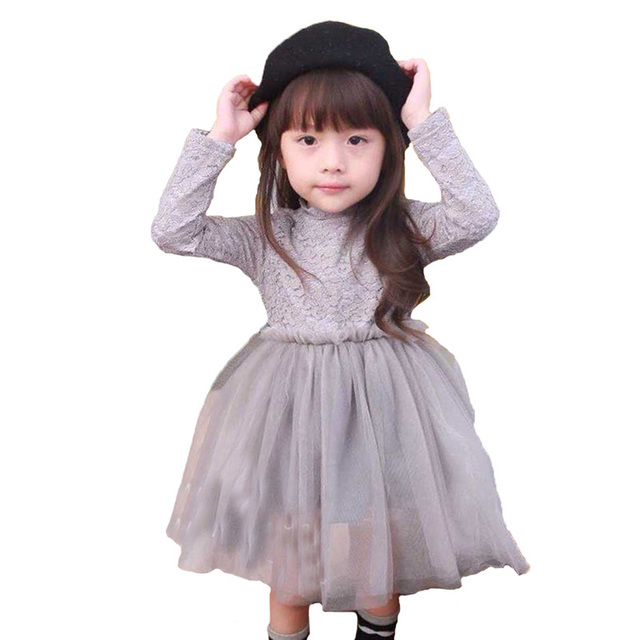 4650b8cb7 € 8.78 40% de DESCUENTO|Moda Primavera niñas princesa vestido Casual de  encaje de manga larga gris gasa niños vestidos para fiesta bebé niña ...