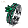 Individual Design jewelry Green Cubic Zirconia Women's Set Rings Black Gun Plated Ring size 6 7 8 R2012