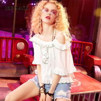 ELF SACK Vintage Women Slash Neck Off Shoulder Blouses Womens Sexy Summer Beach Wear Shirts Ruffles