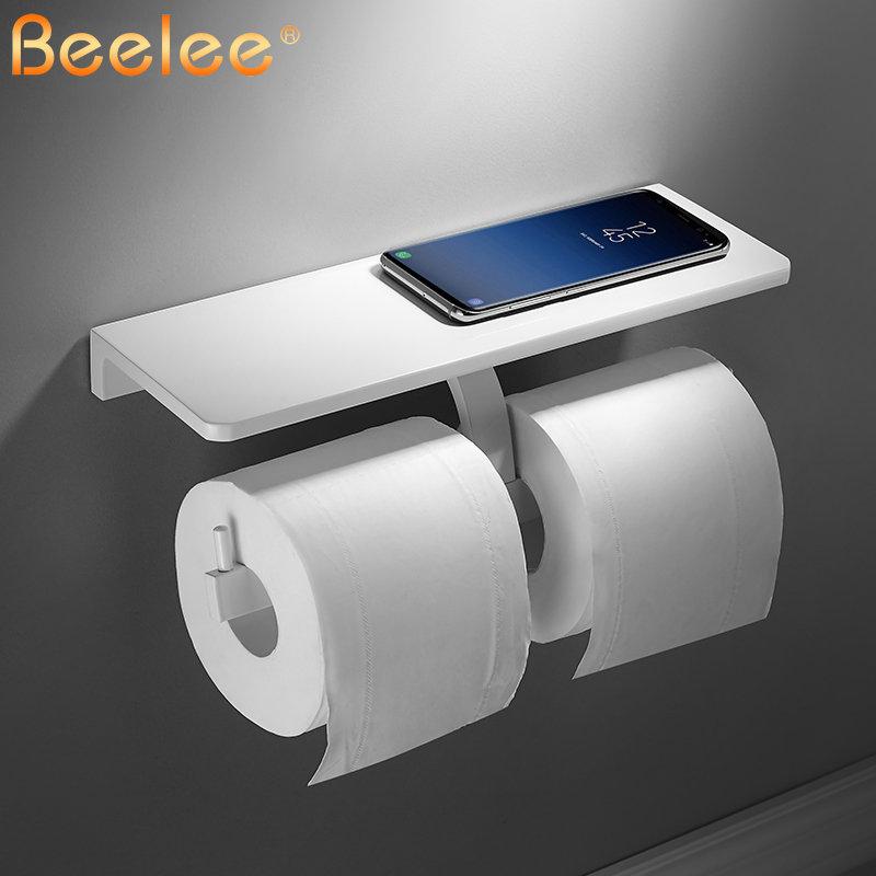 Porte-papier hygiénique salle de bain papier distributeur Match téléphone portable étagère de rangement Rack blanc peinture aluminium Double rouleau