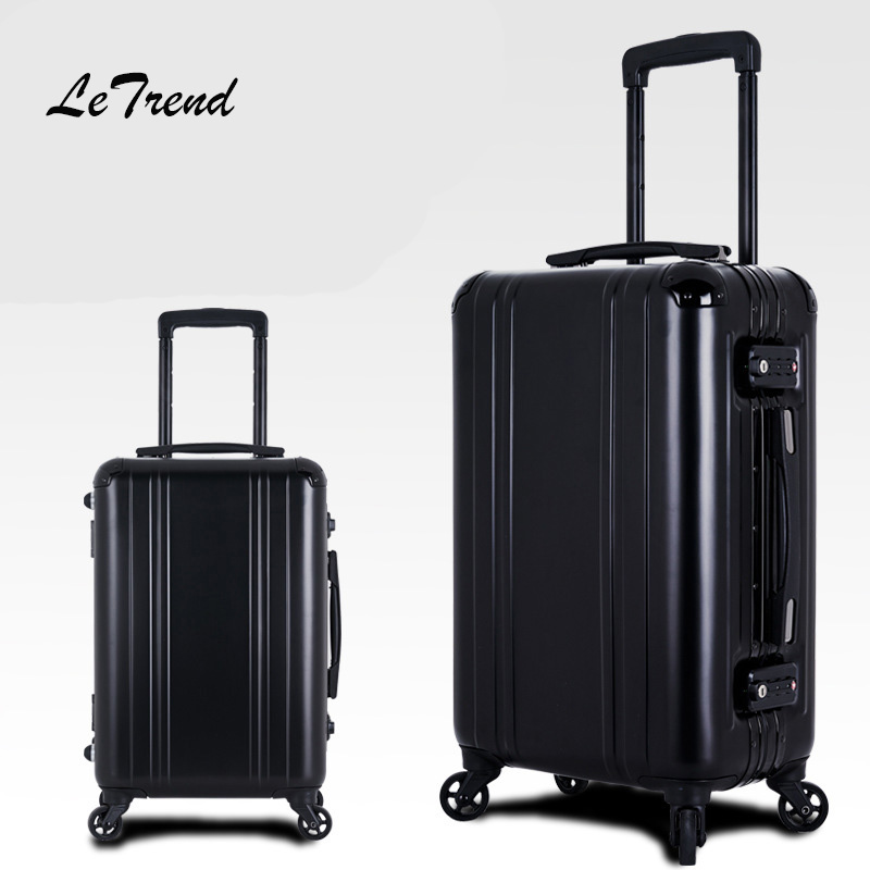 LeTrend 100% Aluminum-magnesium alloy Rolling Luggage Spinner 20 inch Men Business Carry On Trolley Wheel Suitcase Travel bag