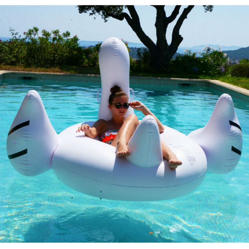 Giant inflatable swan ride on water pool float pvc fun for Huge inflatable swimming pool