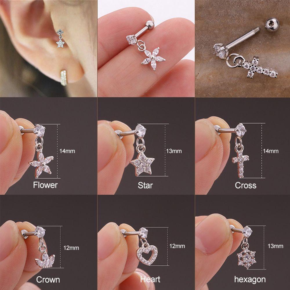 New Silver Heart Hexagon Crystal Tragus Ear Piercing Plug Stainless Steel Daith Earrings Helix Cartilage  Ear Piercing Jewelry