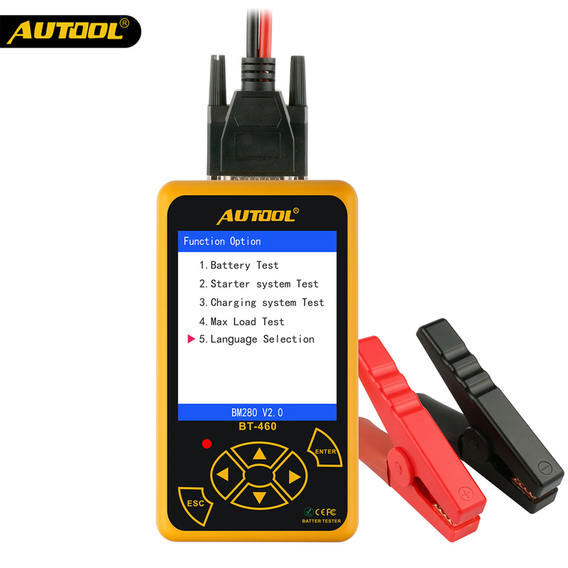 1pcs Free DHL AUTOOL BT-460 Battery Tester Lead-acid AGM GEL Battery Cell Analyzer for 12V Vehicle 24V Heavy Duty hot sale free shipping super foxwell bt 705 battery analyzer foxwell bt705 car battery tester fast express shipping
