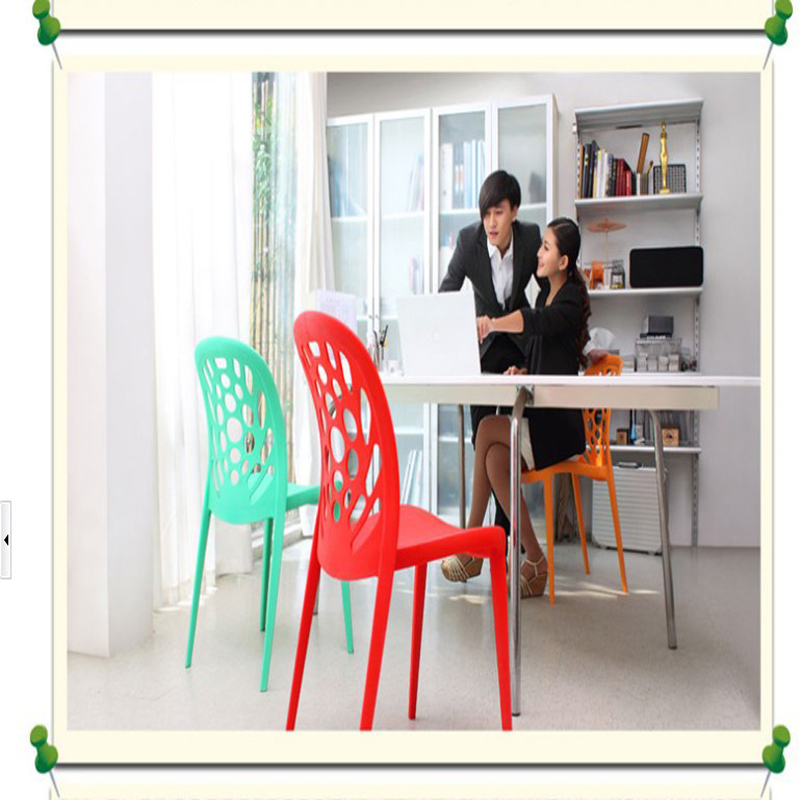 ABS plastic dining chair, waiting chair, conference chair, creative works, hollow, the peacock chair, colorful color selection plastic dining chair can be stacked the home is back chair negotiate chair hotel office chair