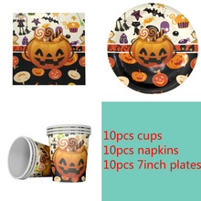 Halloween pumpkin head theme 10Plate+10Cup+10Napkin for 10 kids Party Decoration Tableware Set