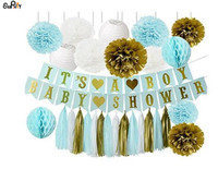 1 Set BOY'S BABY SHOWER Party Decorations It's A Boy Banner Baby Blue Shower Party Kit Flower Poms Honeycomb Ball Tassels