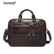 WEIXIER 2019 New Genuine Leather mens laptop briefcase brand handbag business multi-function large-capacity
