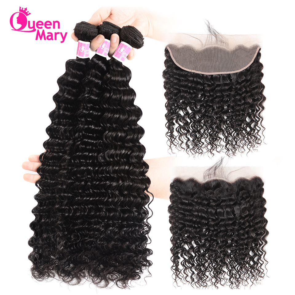 Queen Mary Hair Malaysian Deep Wave Bundles With Frontal Closure Lace Frontal Closure With Bundles 100% Human Hair Non Remy