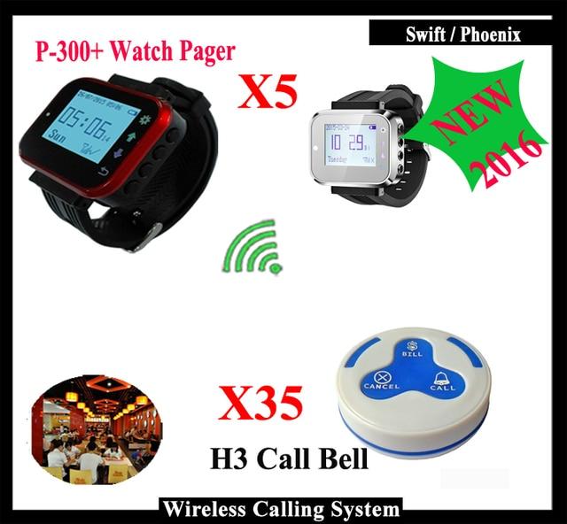 Sistema de buscapersonas restaurante call bell 5 unids k-300plus receptor de reloj de pulsera y 35 unids tabla timbre botón con un solo clave