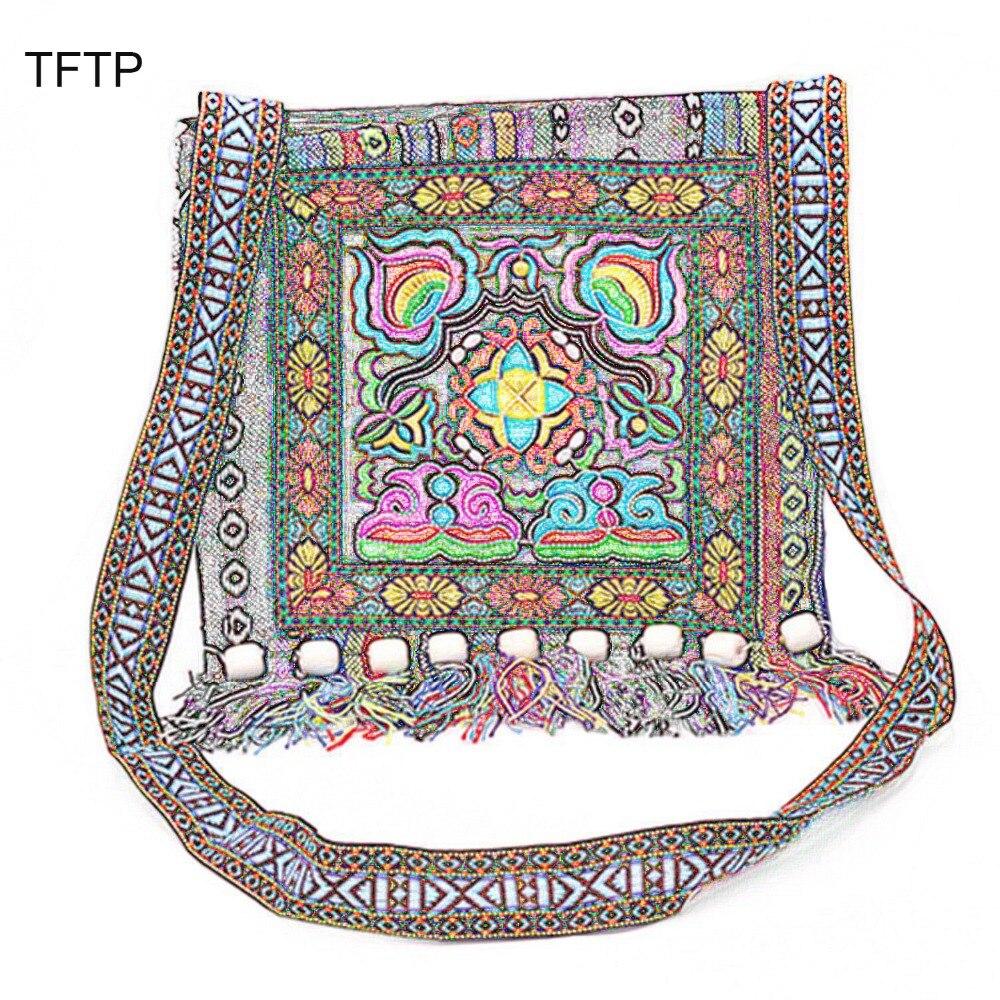 Ethnic-Shoulder-Bag Tassel Tote Embroidery Messenger Boho Hippie Vintage Chinese National