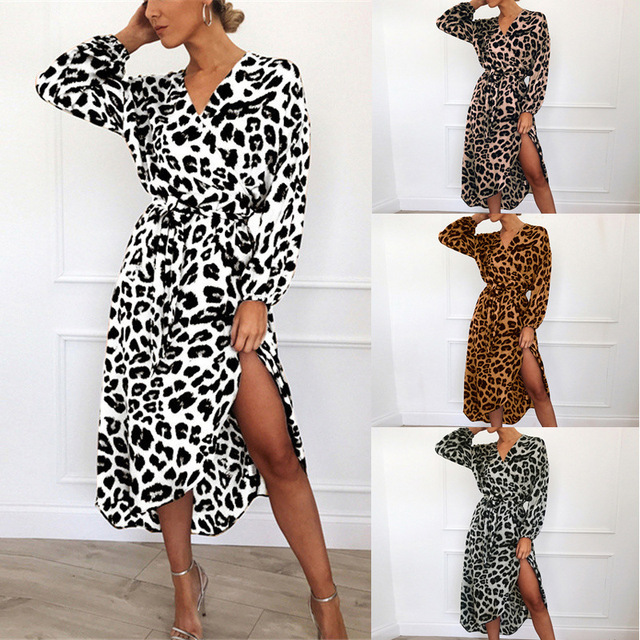Leopard Dress 2019 Women Chiffon Long Beach Dress Loose Long Sleeve Deep V-neck A-line Sexy Party Dress Vestidos de fiesta 6