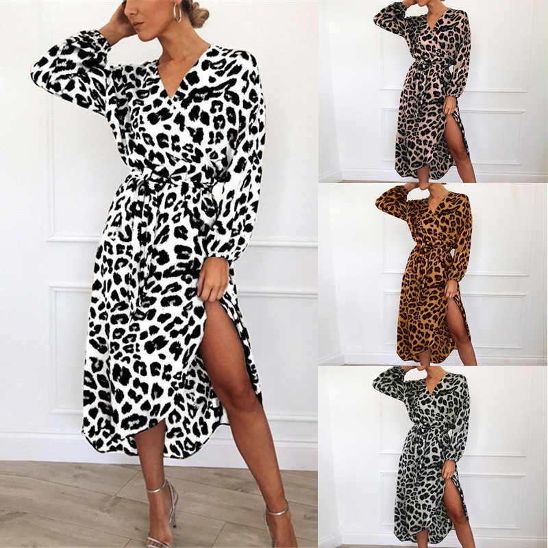 Robe léopard 2019 femmes en mousseline de soie longue plage robe lâche à manches longues col en v profond une ligne Sexy robe de soirée Vestidos de fiesta