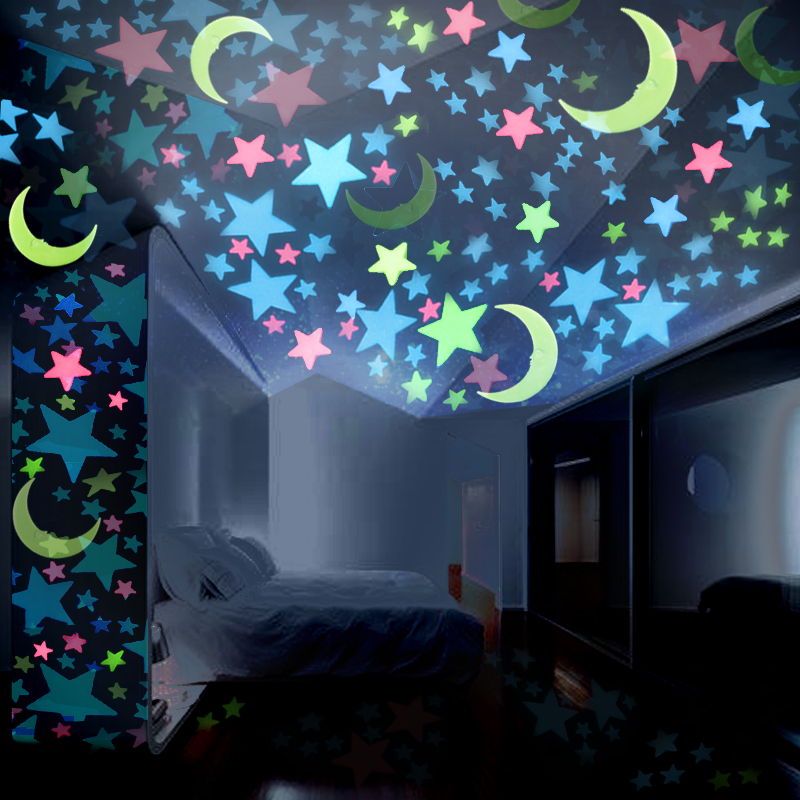DIY 3D Stars Moon Glow In The Dark Luminous Fluorescent Butterfly Meteor Plastic Stickers Decals Toys for Baby Kids Bedroom