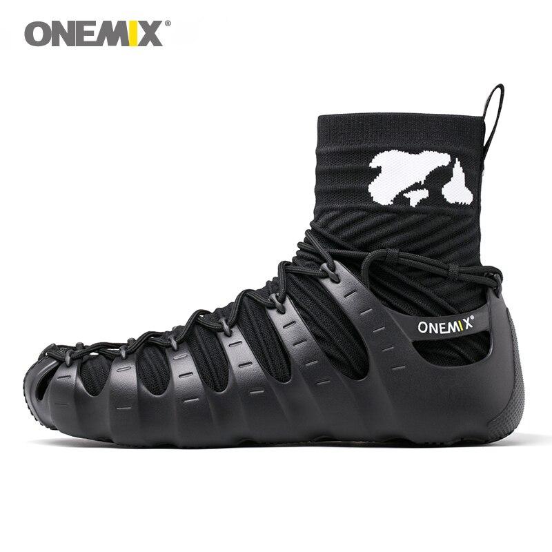 ONEMIX Sapatos Gladiador para Mulheres Dos Homens sapatos de Caminhada Ao Ar Livre Sapatos de Trekking não Cola Tênis Desportivo Mulher Tênis Preto Sapatos