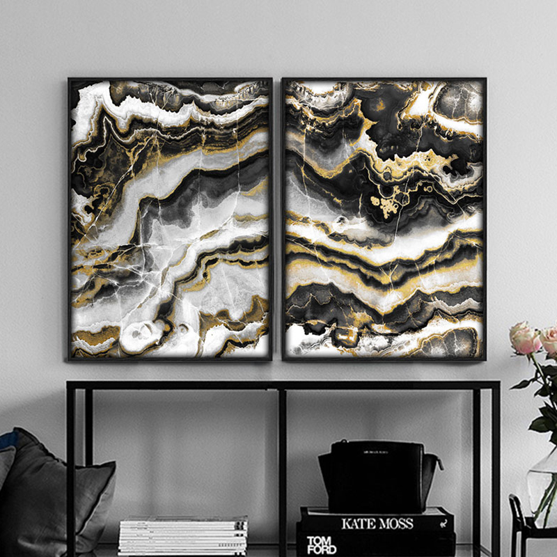 Modern painting abstract poster picture print canvas art black gold marble home living room wall decoration original design
