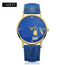 2017 New Fashion Blue Watch Women Brand Casual Analog Leather Dress Quartz Wrist Watches Clock Gifts