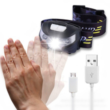 ZK20 4000LM mała latarka czołowa LED na akumulator czujnik ruchu ciała lampka czołowa na rower lampa latarka turystyczna zewnętrzna