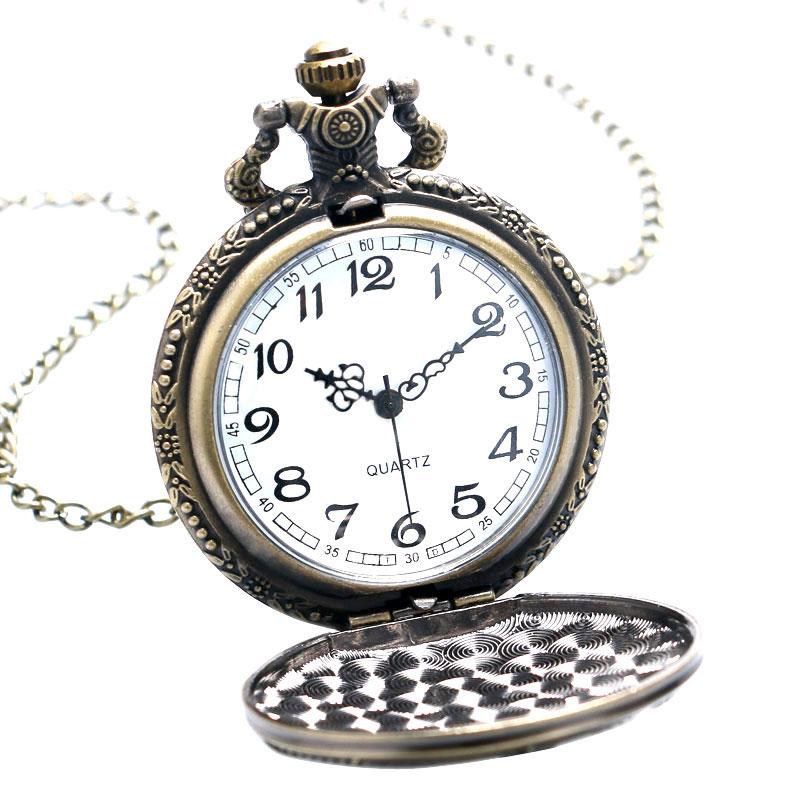 Antique Bronze Fob Clock Peace Dove Zegarek kieszonkowy z - Zegarki kieszonkowe - Zdjęcie 2