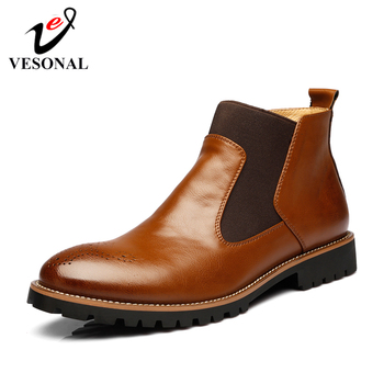 VESONAL Autumn Winter Genuine Leather Ankle Chelsea Boots Men Shoes With Fur warm Vintage Classic Male Casual Motorcycle Boot