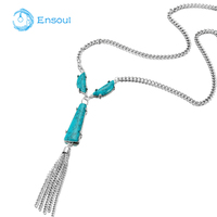 Ensoul 2017 New Design Chain Pendant Alloy Point Acrylic Drill Chain Tassel Necklace High Quality For