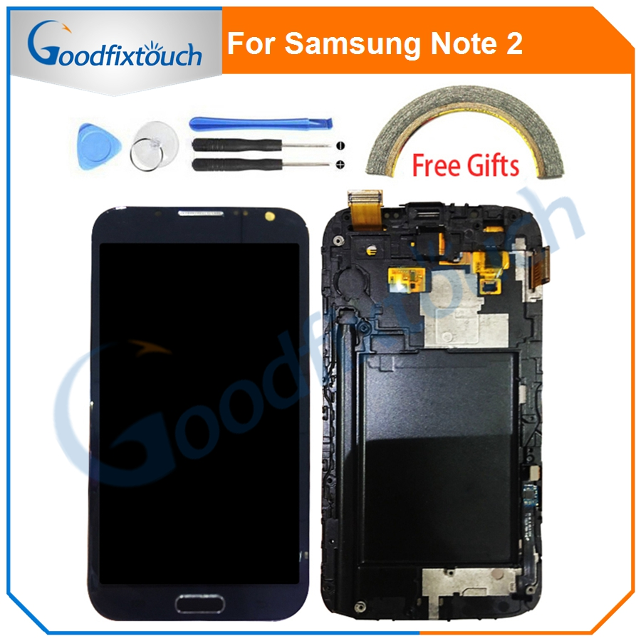 For Samsung GALAXY Note 2 N7100 LCD Display Touch Screen Digitizer Assembly With Frame For Samsung Note2 N7105 i317 T889 image