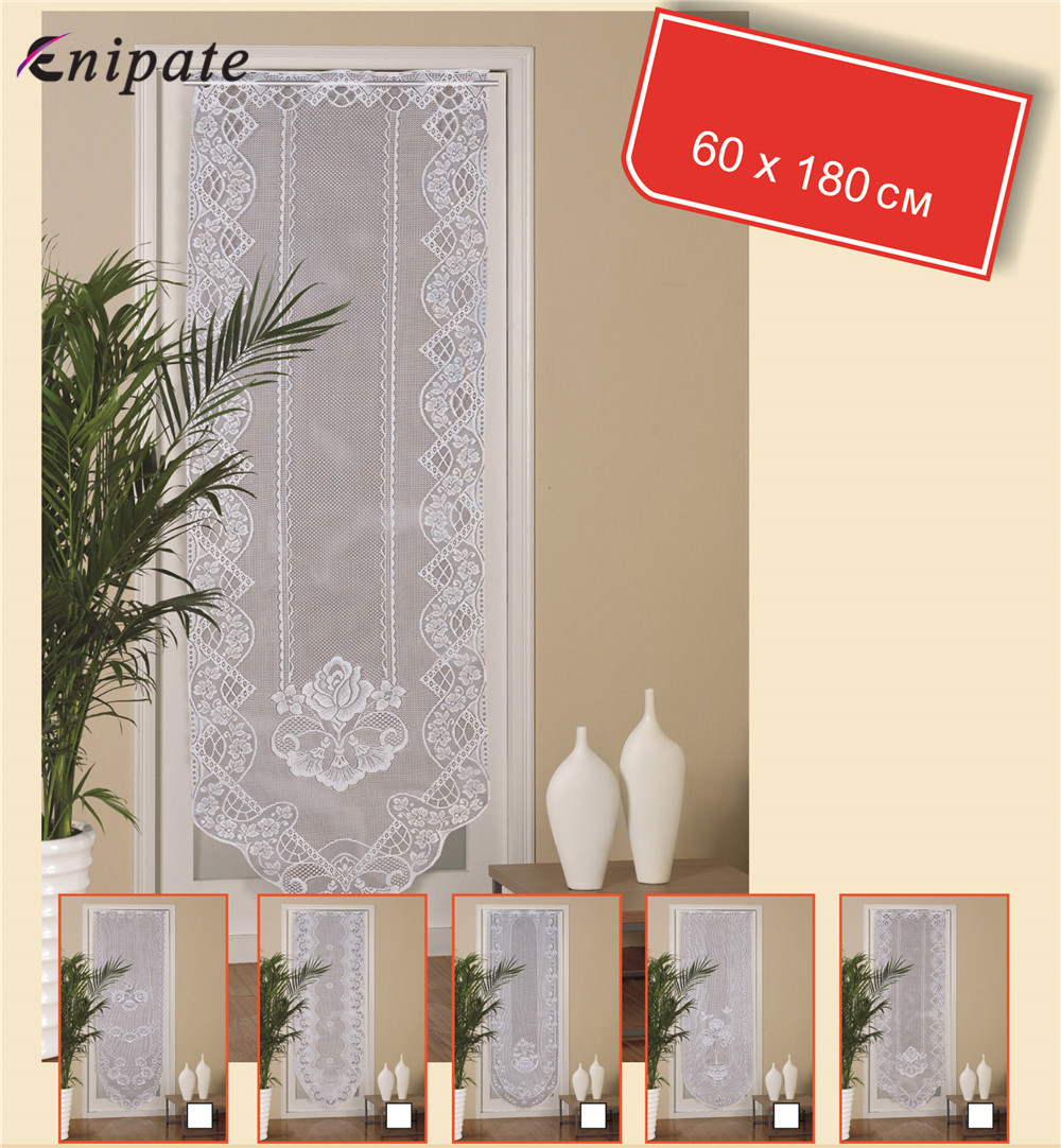 Enipate European White Lace Door Curtains Valance Window Tulle Curtains Kitchen Coffee Dividers Bedroom Decoration 180*60cm