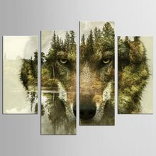 4 Panels Wolves In The forest Modern Wall Painting Art Picture Paint on Canvas home decor for living room(China)
