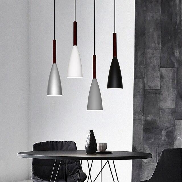 Нордический минимализм для локальных светильников на E27 алюминиевая Древесина подвесные светильники, Декор для дома ресторана лампа освещения и бар свет для витрины свет