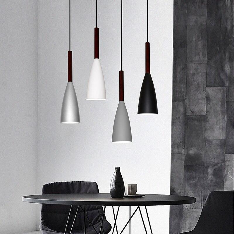 Lampes suspendues en bois d'aluminium du minimalisme nordique droplight E27, lampe d'éclairage de décor de restaurant à la maison et lumière de tache de vitrine de barre