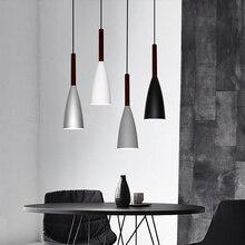 Nordic минимализм droplight E27 Алюминий деревянные подвесные светильники, Главная Ресторан Декор лампы освещения и бар витрина пятно света